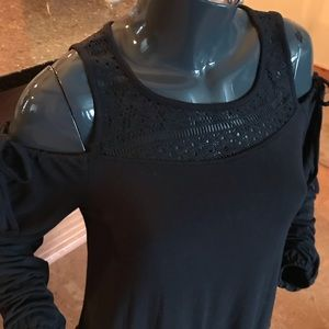 Black Tape cold shoulder top with lace detail